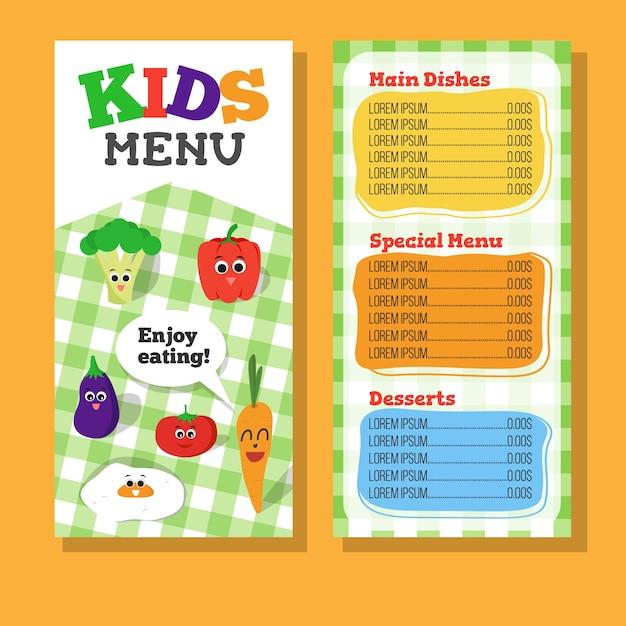 2 Pages Conception De Menus Pour Enfants Avec Légumes Pour Le Restaurant Vecteur Premium