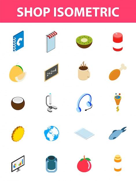 20 jeu d'icônes isométriques de magasin. Vecteur Premium