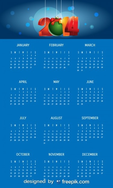 2014 bleu calendrier avec boule de noël Vecteur gratuit