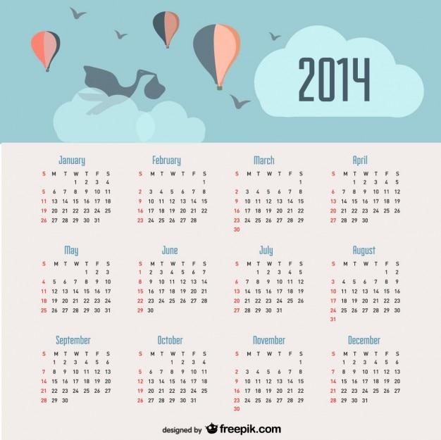 2014 calendrier d'annonce de bébé et des ballons dans le ciel Vecteur gratuit