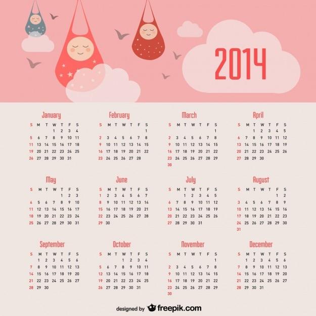 2014 calendrier d'annonce de bébé et le ciel rose Vecteur gratuit