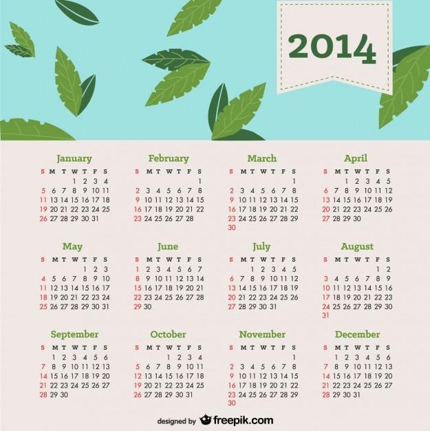 2014 calendrier chute des feuilles dans le ciel bleu Vecteur gratuit