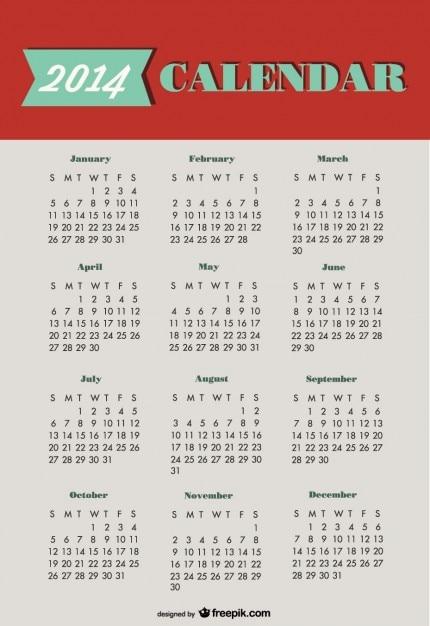 2014 calendrier conception verte rouge Vecteur gratuit