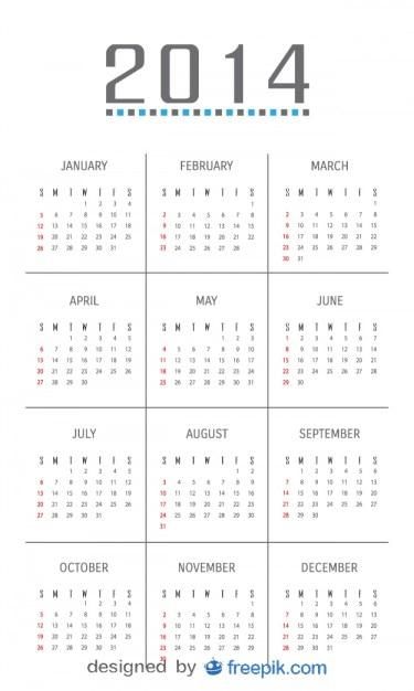2014 calendrier avec design minimaliste Vecteur gratuit