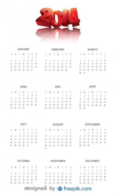 2014 calendrier avec en-tête de la chance rouge Vecteur gratuit