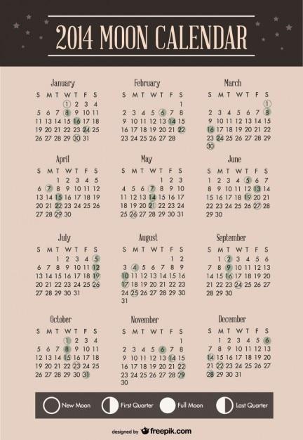 2014 conception de modèle de calendrier de la lune Vecteur gratuit