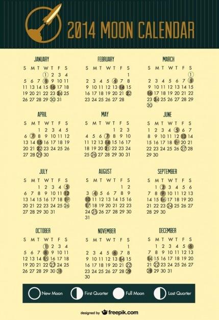2014 phases de lune calendrier espace tête de fusée Vecteur gratuit