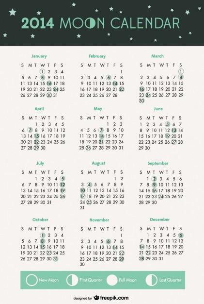 2014 phases de lune calendrier Vecteur gratuit