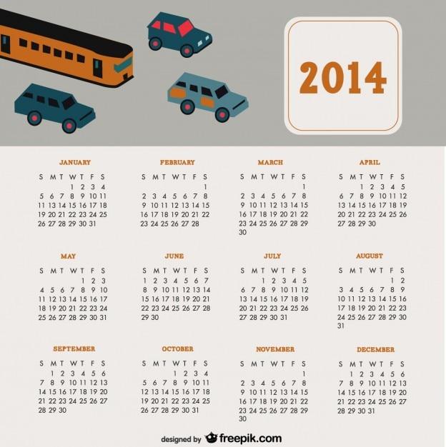 2014 voitures de voyage calendrier automatique conception Vecteur gratuit