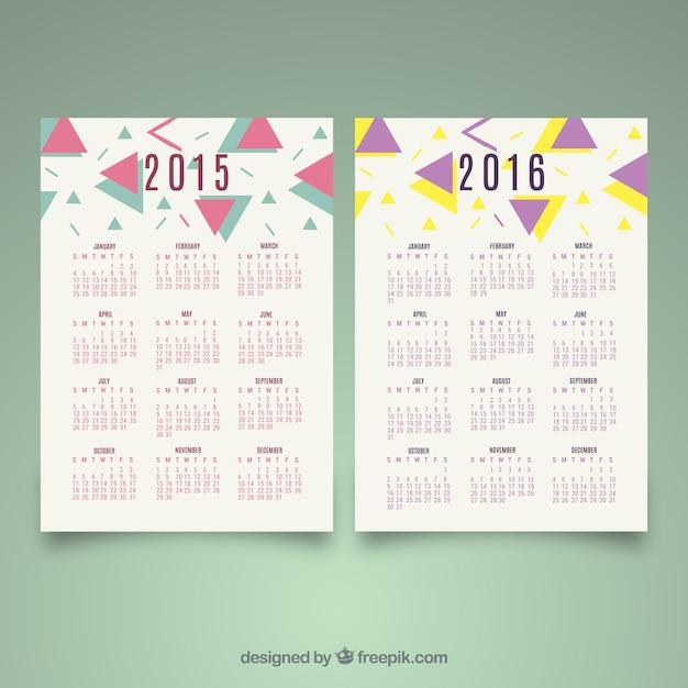 2015 2016 abstraites décoration calendriers Vecteur gratuit