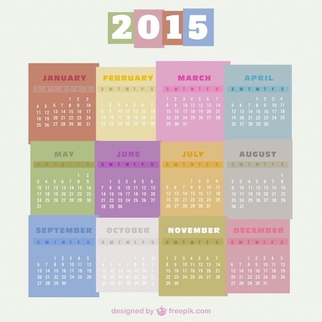 2015 calendrier coloré vecteur libre Vecteur gratuit