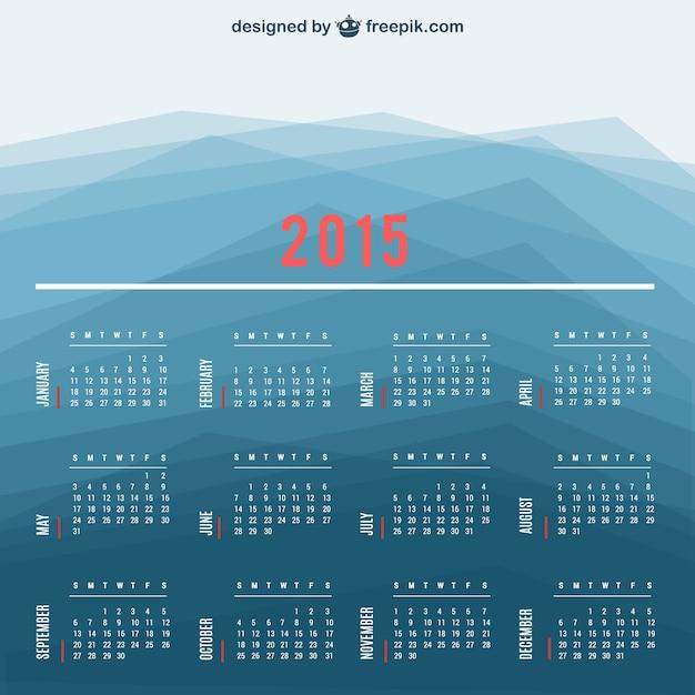 2015 vecteur de calendrier avec un fond polygonal Vecteur gratuit