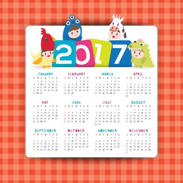 2017 calendar template vecteur avec la bande dessinée illustration d'enfants dans la semaine du costume du dimanche commence Vecteur gratuit