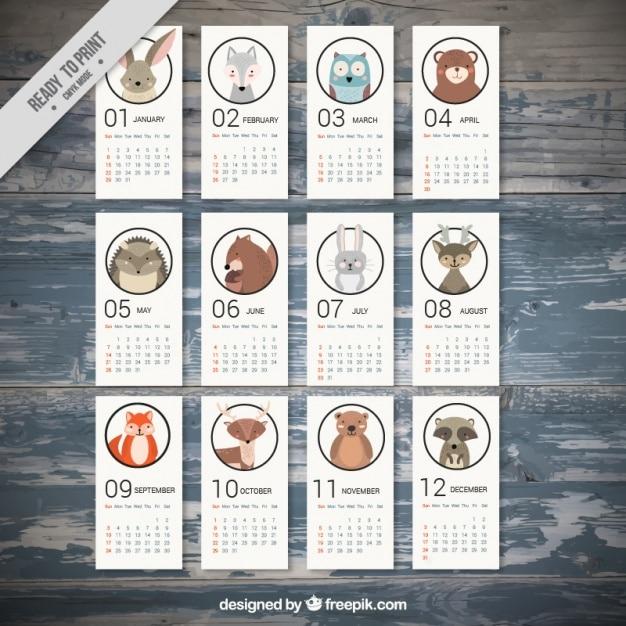 2017 calendrier avec de beaux animaux Vecteur Premium