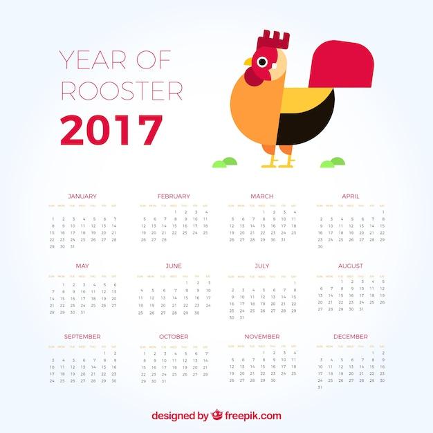 2017 calendrier avec coq design plat Vecteur gratuit