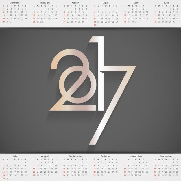 2017 calendrier avec un fond noir Vecteur gratuit