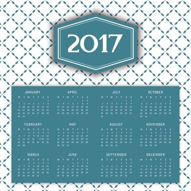 2017 calendrier avec motif décoratif Vecteur gratuit