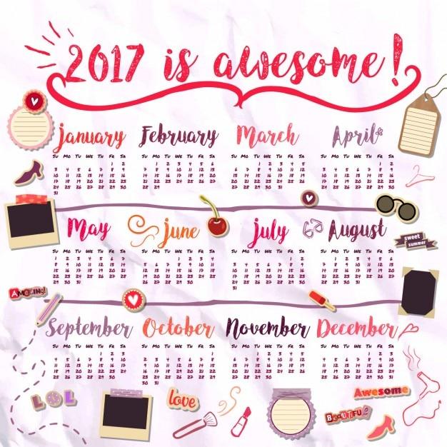 2017 calendrier pour les filles Vecteur gratuit