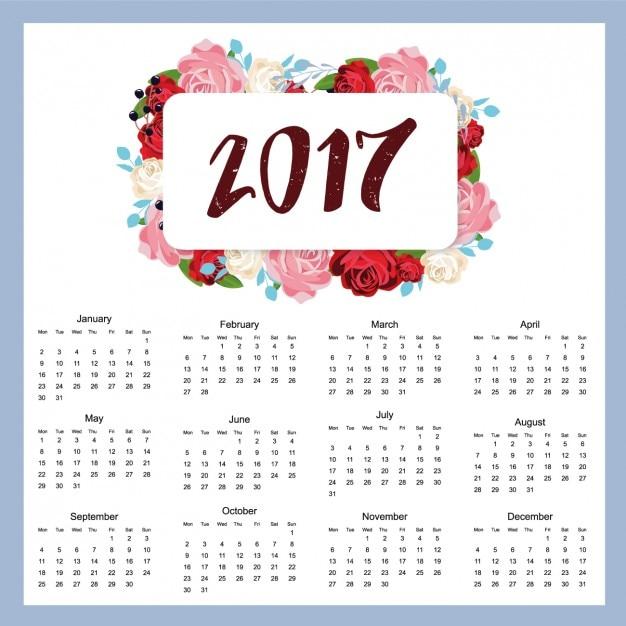 2017 conception de calendrier Vecteur gratuit