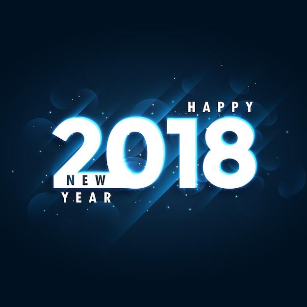 2018 bonne année fond bleu avec effet lumineux Vecteur gratuit