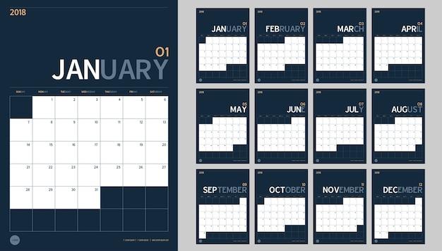 2018 Calendrier De L'année Définie Dans Le Style Simple Table Minimal Propre Et Couleur Bleu Marine Vecteur Premium