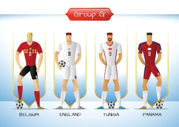 2018 groupe d'uniformes de soccer ou de football g Vecteur Premium