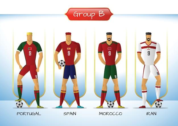 2018 groupe d'uniformes de soccer ou de football, groupe b Vecteur Premium