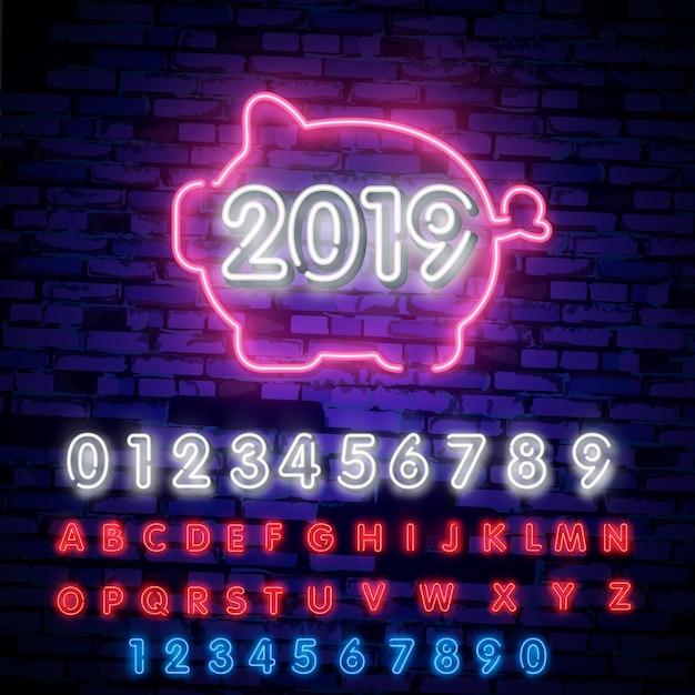 2019, année, néon, cochon, enseigne lumineuse, police de typographie néon Vecteur Premium