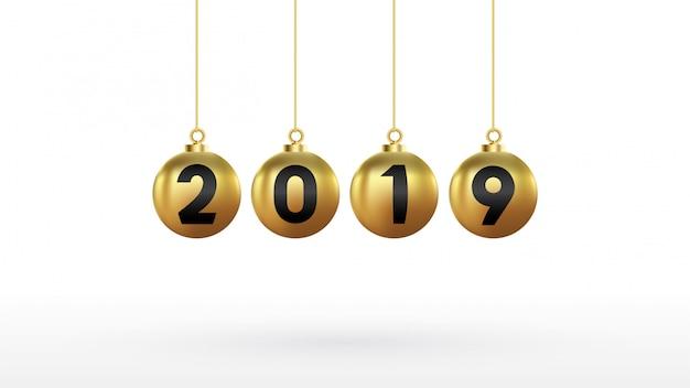 2019 bonne année avec des boules de noël couleur or Vecteur Premium