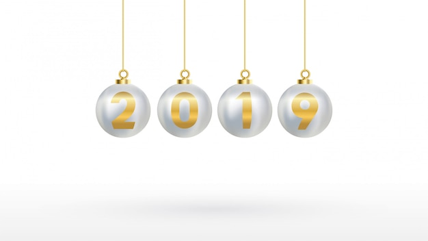2019 bonne année avec des boules de noël en couleurs Vecteur Premium