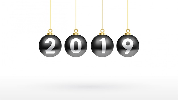 2019 bonne année avec couleur boule de noël noire Vecteur Premium