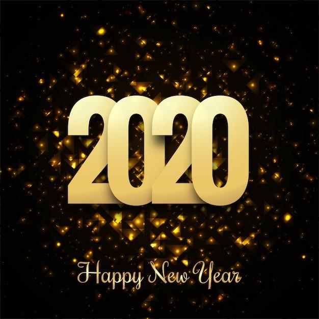 2019 bonne année or brillant Vecteur gratuit