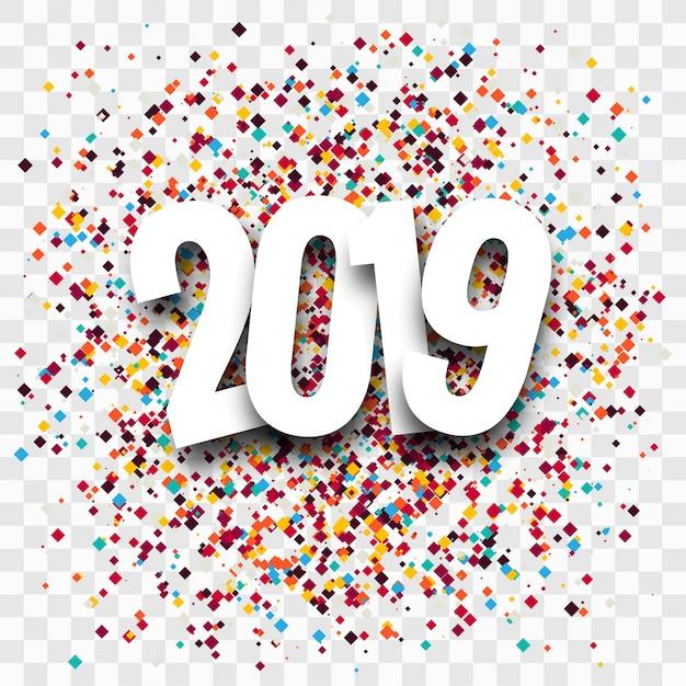 2019 bonne année texte fond brillant coloré Vecteur gratuit
