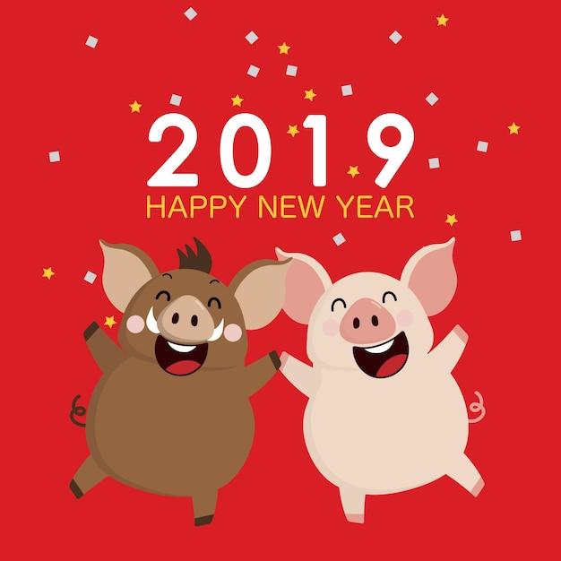 2019 carte de voeux de bonne année. Vecteur Premium