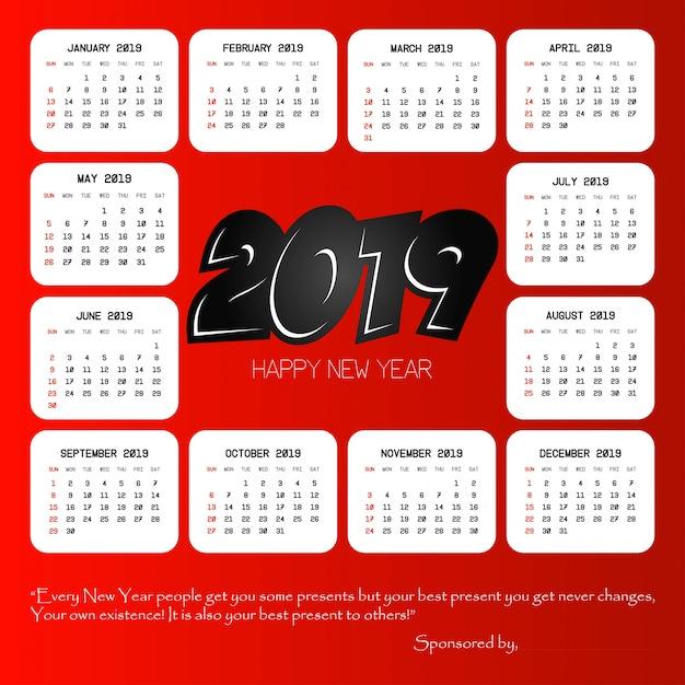 2019 conception de calendrier avec le vecteur de fond rouge Vecteur gratuit