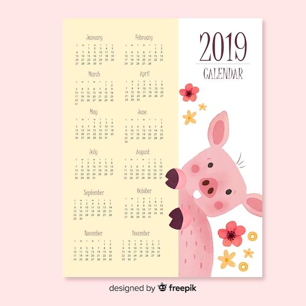 2019 nouvel an chinois Vecteur gratuit