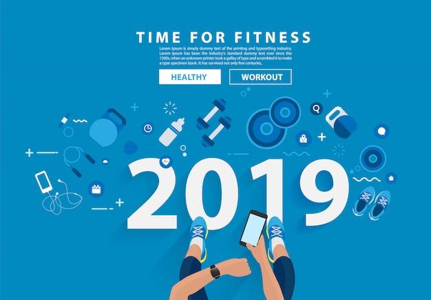 2019 nouvel an fitness concept d'entraînement typographie alphabet design Vecteur Premium