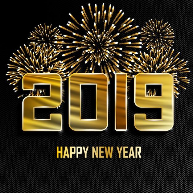 2019 nouvel an fond doré avec feux d'artifice. Vecteur Premium