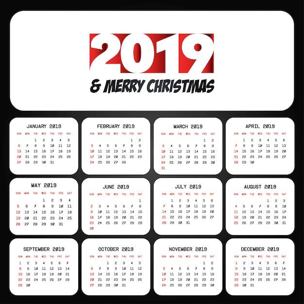 2019 vecteur de conception de calendrier de noël Vecteur Premium