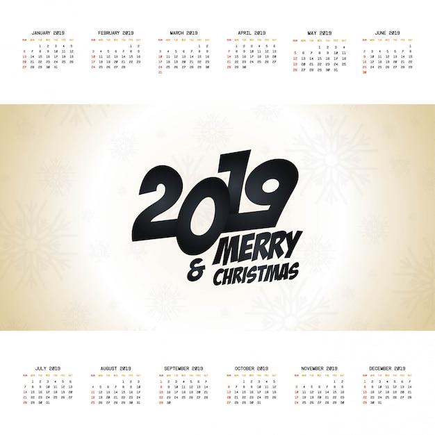 2019 vecteur de conception de calendrier de noël Vecteur gratuit