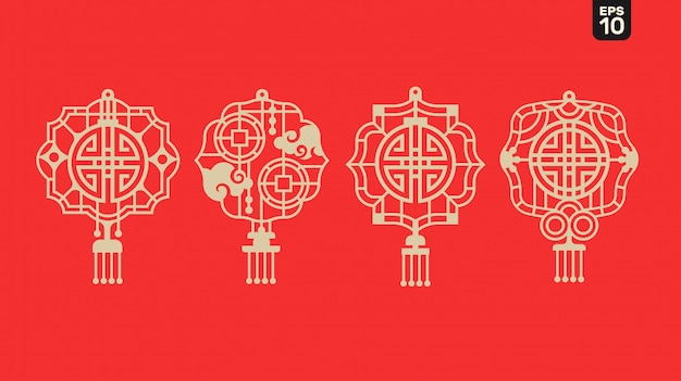 2020 Bonne Année Chinoise De Lanterne Avec Symbole De Bénédiction Et De Prospérité Et Cadre En Treillis Sur Vecteur Premium