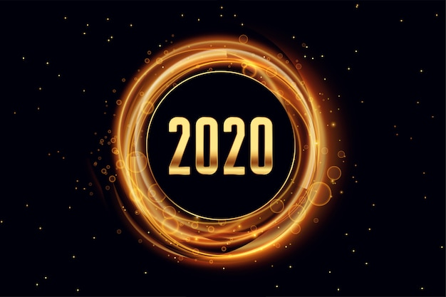 2020 bonne année fond style effet de lumière Vecteur gratuit