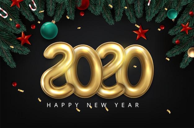 2020 Bonne Année En Or. Ballon 2020 De Style Minimaliste De Numéros Isolé Vecteur Premium