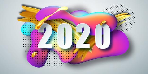 2020 nouvel an sur le fond d'un élément de fond de couleur liquide. composition de formes fluides. . Vecteur Premium