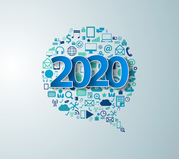 2020 Nouvelle Année Avec Le Logiciel D'entreprise De Technologie Des éléments D'application Vecteur Premium