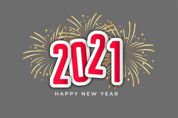 2021 Bonne Année Célébration Fond De Style Feux D'artifice Vecteur gratuit