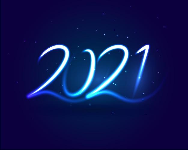 2021 Bonne Année Fond De Strie Bleue De Style Néon Vecteur gratuit