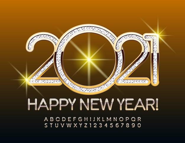 2021 Bonne Année Or Et Police Argent Texturé Style élégant Alphabet Lettres Et Chiffres Ensemble Vecteur Premium