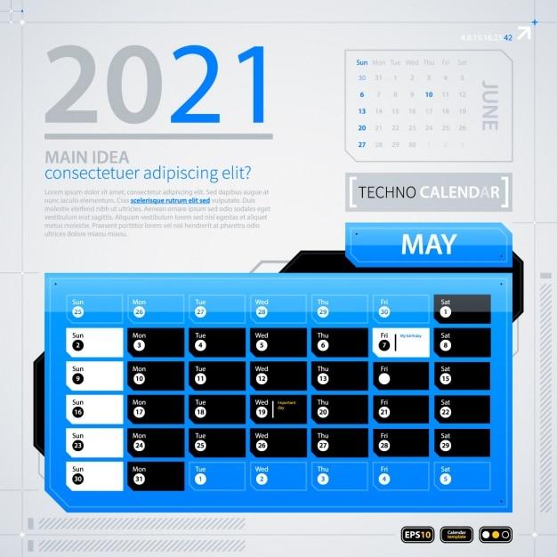 Calendrier 2021 Vectoriel Gratuit 2021 Modèle De Calendrier | Vecteur Gratuite