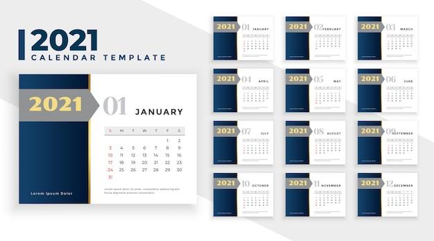 2021 Nouvel An Calendrier Design élégant Style D'affaires Vecteur gratuit